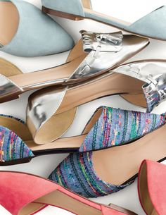 J.Crew women's d'Orsay flats. yummy piles of shoes