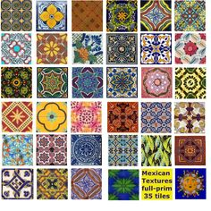 mexican tiles - oh look at the pretty colors and designs to paint on rocks!
