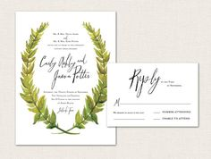 Watercolor Leaves Printable Wedding Invitation by LorellePaperie Colorful Wedding Invitations, Wedding Invitation Inspiration, Printable Wedding Invitations, Wedding Invitation Design, Wedding Themes, Wedding Designs, Wedding Cards, Wedding Colors, Wedding Day