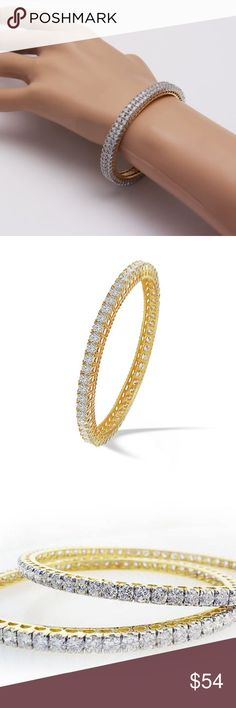 Exquisite Diamante Cubic CZ Bangles Single Line Diamante Pair Set of 2 Manufactured in India.   StyleBangle Metal: Yellow 18K Gold Plated Main Stone: Clear Cubic Zirconia Length (inches)Available Sizes - 2.4, 2.6  Country/Region of Manufacture: India  I own several pieces from this line. No Tarnishing, excellent craftsmanship.  These are solid jewelry items that you can wear all day.  The glitter and sparkle are stunning. The size is extremely chic and elegant. Only 6 left. Units per order…