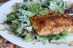 Blackened Mahi Ceasar Salad.  This was excellent light dinner, and super easy!  I used Chef Prudhommes Blackened Redfish Magic Seasoning.