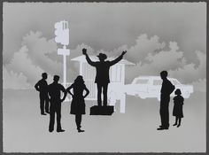 """""""One can feel a....sort of existential frisson while viewing the spare, silhouette drawings of the Atlanta artist Matt Haffner. In these works, Haffner offers reductive black and white images of Southerners living amongst old buildings, streetlights, telephone poles, gas stations, and helicopters. The silhouettes are ghosts haunting Haffner's scenes. These are urban images, yet they seem frozen in a denatured expanse of opaque gray."""""""
