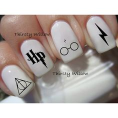 Harry Potter Nail Decals ($2.99) ❤ liked on Polyvore featuring beauty products, nail care, nail treatments, nails, harry potter, beauty, hogwarts and makeup