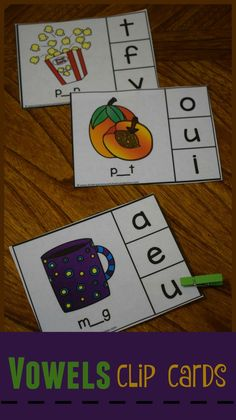 FREE Vowel Clip Cards are a great way for kindergarten age kids to practice identifying vowels and the sounds they make in in cvc words.