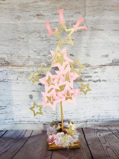 Stars Centerpiece - Birthday Party - Decorations - Boy - Girl - Shooting Star - Twinkle Little Star - Baby Shower - Pink Gold - Customized by MemoryKeepsakeParty on Etsy https://www.etsy.com/listing/400640503/stars-centerpiece-birthday-party