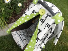 Carseat Canopy Carseat Cover Giraffe Lime Dot by fashionfairytales, $39.99