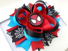 Spiderman Inspired Boutique Stacked Hair Bow by DLovelyBOWtique, $9.90