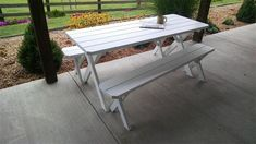 Amish Pine Wood Table and Bench Patio Furniture Set Great table for outdoor living! Great family time table for outdoors. Made with solid pine. #picnictable #outdoortable #picnictableandbenches