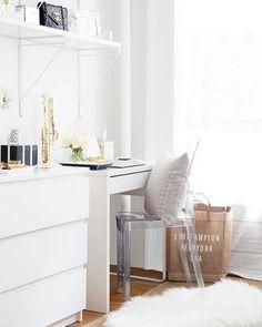 Ikea 'Micke' desk & 'Malm' dresser via @dominomag
