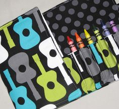 Crayon Wallets by Sew Fantastic. Christmas Baskets, Christmas Stockings, Go Bags, Folded Up, Little Ones, Pattern Design, Guitar, Kids Rugs, Tri Fold