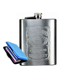 hipflask Stainless Steel Jack Daniels design Hip Flask 8 oz with aluma wallet