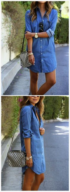 Women's Long Sleeve Button down Mini Denim Shirt Dress Jeans Casual, Jean Shirt Dress, Jeans Dress, Mode Chic, Women's Leggings, Clubwear, Casual Dresses, Women's Dresses, Denim Dresses