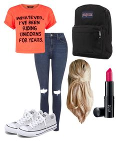 """""""Untitled #1"""" by tinkthekitten ❤ liked on Polyvore featuring Topshop, Converse, JanSport and Laura Geller"""