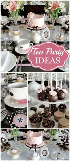 have to see this stunning pink, black and white tea party! See more party ideas at ! Girls Tea Party, Tea Party Theme, Tea Party Birthday, Party Party, Ideas De Catering, Comida Para Baby Shower, Tea Party Sandwiches, Afternoon Tea Parties, Tea Party Bridal Shower