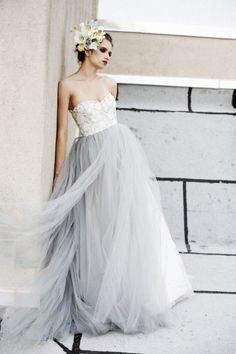 Elizabeth Dye wedding dresses - romantic silhouettes, gorgeous detailing, and touches of & Funky Wedding Dresses, Informal Wedding Dresses, 2015 Wedding Dresses, Bridal Dresses, Wedding Gowns, Wedding Veil, Tulle Wedding, Gray Weddings, Madame