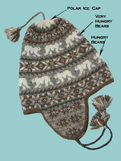"Ravelry: Project Gallery for Polar Chullo pattern by Mary Ann Stephens,   showing the original hat knit in the Shetland Spindrift ""naturals"" colorway."