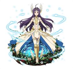 1girl ahoge bracelet elbow_gloves fingerless_gloves floating_hair full_body gloves hair_ornament jewelry long_hair looking_at_viewer midriff navel purple_hair red_eyes red_flower simple_background smile solo standing stomach sword_art_online thigh-highs very_long_hair white_background white_flower white_gloves white_legwear yuuki_(sao)