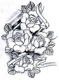 Traditional Rose Tattoo | rose tattoo rose sketch rose tattoo sketch roses sketch tattoo tattoo ...