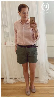 #FletteMia • Pink Shirt w/White Stripes: #HM •  Green Shorts: #HM • Dusty Pink Flats: #Gabor Putting Outfits Together, Pink Flats, Colorful Cakes, Green Shorts, Dusty Pink, Cute Shoes, My Wardrobe, Stripes, Photo And Video