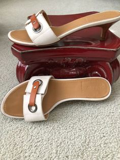 Guess by Marciano women's sandals brown wedge cork heels patent look size 6.5 M | eBay