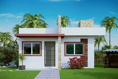 Small House Plan Design - The best interior design ideas for beach house plans range from color, shape, texture, and beach and sea accessories. Style At Home, Modern Style Homes, Small House Design, Modern House Design, Bungalow Haus Design, Modern House Facades, Modern Houses, Beach House Plans, Story House