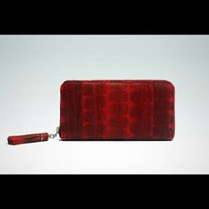 #WANNIS Zip around wallet in cherry hardwicke's sea snake leather. #WANNISLEATHER by wannis_leather