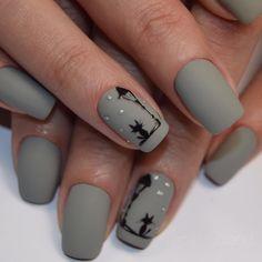 Nails Art Stiletto Gray New Ideas Cute Acrylic Nails, Cute Nail Art, Glitter Nail Art, Nail Art Diy, Nail Art Noel, Fall Nail Art, Minimalist Nails, Classy Nails, Simple Nails