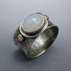 Wide band Sterling Ring Blue Chalcedony