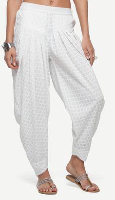 White Embroidered Crepe Dhoti Pants Kurti Sleeves Design, Sleeves Designs For Dresses, Kurti Neck Designs, Dress Neck Designs, Salwar Designs, Blouse Designs, Salwar Pants, Salwar Pattern, Bohemian Pants