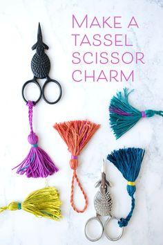 How to make an embroidery floss tassel scissor charm Embroidery Floss Projects, Crewel Embroidery Kits, Embroidery Scissors, Embroidery Needles, Silk Ribbon Embroidery, Embroidery Designs, Sewing Crafts, Sewing Projects, Sewing Tutorials