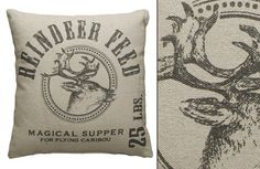 "Reindeer Feed Grain Sack Pillow: Vintage Feedsack Feel | Reindeer Feed Grain Sack Pillow High quality linen, woven to have the look and feel of laundered, vintage feedsacks $5 shipping for the first one and $2.95 for each additional They are 100% cotton and are SUPER SOFT. Filling made of 100% Polyester Machine Washable Dimensions: 15"" Wide x 15""High Packed: One Per Package (you will receive one Reindeer Feed Grain Sack Pillow) $16.95"