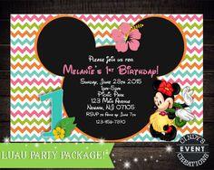 Minnie Mouse Luau Invitation Minnie Mouse by CindysEventCreations
