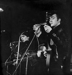 1961 - John Lennon, Paul McCartney and George Harrison, Top Ten Club, Hamburg, Germany (photo by Jürgen Vollmer).
