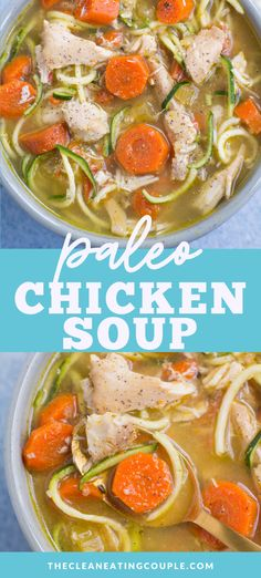 Healthy Paleo Chicken Soup is a delicious, keto meal. Easily made in the instant pot or slow cooker - it's a cozy, yummy dinner everyone will love! Easy Whole 30 Recipes, Best Soup Recipes, Healthy Soup Recipes, Whole30 Recipes, Chili Recipes, Free Recipes, Paleo Menu, Dinner Recipes, Chowder Recipes