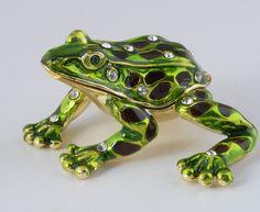 Green & Black Frog Trinket Box by Keren Kopal Faberge Style Austrian Crystals.