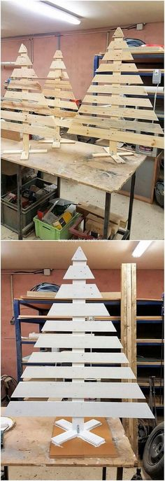 Hence the use of old wood pallet is much desirable to use in the creation of the tree art designing for your house beautiful adornment taste. You woul. Pallet Tree, Pallet Christmas Tree, Christmas Projects, Christmas Crafts, Christmas Decorations, Xmas Tree, Pallet Clock, Christmas Ideas, Wood Pallet Art