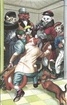 Cartão Postal Alfred Mainzer # 4736-Elevador Crush in Colecionáveis, Cartões postais, Animais | eBay