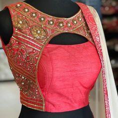 Pink jacket style latest designer hand zardosi work Designer wedding saree lehenga blouses To inquire whatsapp 918888328116 or ethnicdiagmailcom Indian Blouse Designs, Blouse Back Neck Designs, Choli Designs, Choli Blouse Design, Fancy Blouse Designs, Designer Blouse Patterns, Bridal Blouse Designs, Saree Blouse Neck Designs, Kurti Back Designs