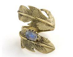 Light as a Feather Ring- Moonstone Labradorite $24 #NBJ #NatalieBJewelry #FestivalSeason