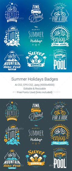 Summer Holiday Badges #design Download: http://graphicriver.net/item/summer-holiday-badges-/11753493?ref=ksioks