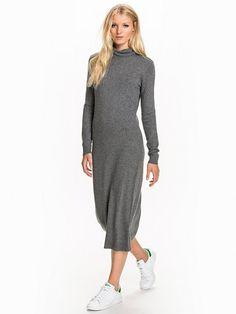 Iben L/S Long Knit - Object - Dark Grey Melange - Kjoler - Klær - Kvinne - Nelly.com