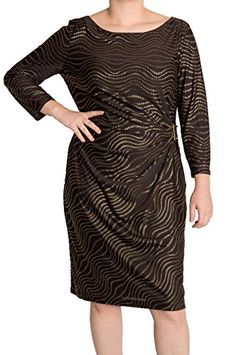 #Tahari by ASL Wavy Metallic Buckle #Sheath #Dress, (12) only $88 (was $138)