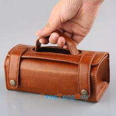 Mens Travel Toiletries Cosmetic Bag Brown PU leather Shaving Wash Toiletry Case - Add a mini bottle of Port for Gift?