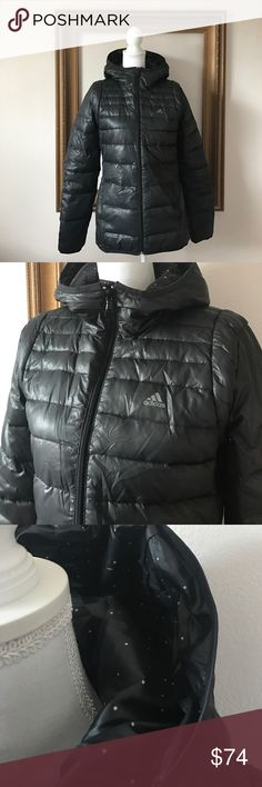 Adidas water resistant super warm down jacket, S In perfect condition. Extra warm and cozy. Size small but would fit a size medium. Rain beads up and rolls off this jacket. Perfect way to stay warm AND dry! Slight gray to the black color. Adidas Jackets & Coats Puffers
