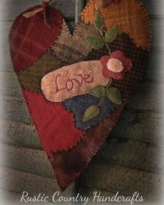 """Crazy Love"" heart patter will be on my website next week. #embroidery #heart #handmade #woolapplique #wool #valentine #crazyquilt"
