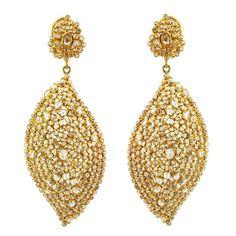14.36ct Natural Slice Diamond Dangle Earrings Solid 18k Yellow Gold Fine Jewelry #raj_jewels #DropDangle
