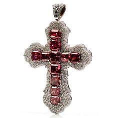 "THE ""RED WONDER"" JEWELED CROSS... MADE WITH GENUINE RED DIAMONDS."