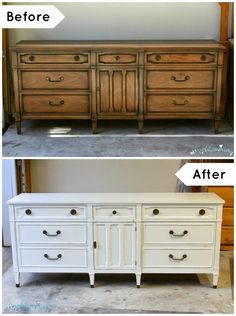 Before and After: Antique White Dresser and Nightstands!