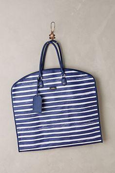 Marine Stripe Garment Bag #anthropologie