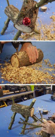 How to make a Wooden Log Reindeer | DIY Rustic Christmas Decorations Cheap | Homemade Christmas Decor Ideas on a Budget #christmasdecorationsdiy